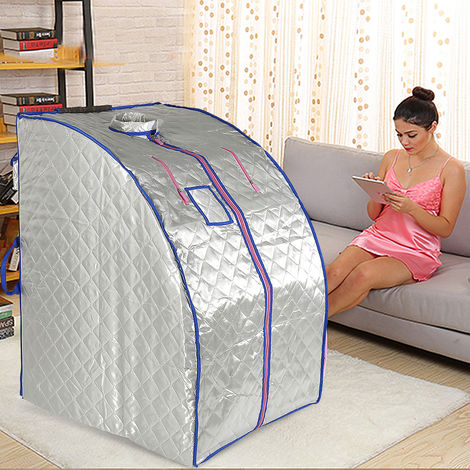 Infrarot Sauna-Box Tragbare Dampfsauna Indoor Folding Sauna Dampfkabine Personal Spa Trockene Saunaheizung silber