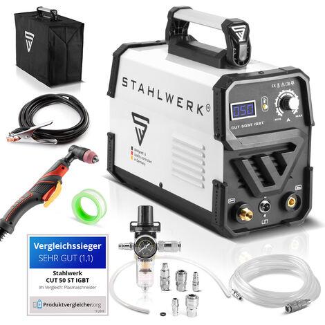 Cortador de plasma STAHLWERK CUT 50 ST IGBT con rendimiento de corte hasta 14 mm adecuado para chapas pintadas y oxidadas, 7 años de garantía*.