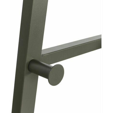 5439 Armario de diseño industrial, 2 estantes, 3 ganchos, almacenamiento, con estructura de metal, para salón, cocina, verde