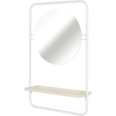5456 Estante de pared para baño Espejo, naturaleza, blanco