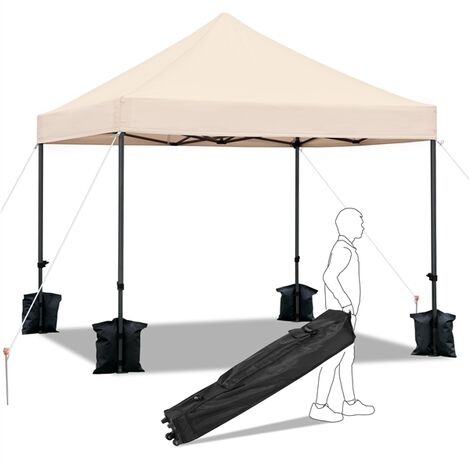 Yaheetech 3M x 3M Heavy Duty Commercial Pop-up Canopy Easy Pop Up Gazebo Party Tent Wedding Marquee Garden Outdoor BBQ Party Tent,with Wheeled Carry Bag and Sand Bags