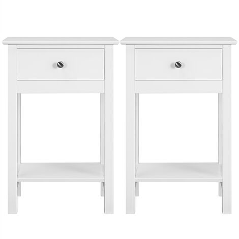 Set of 2 Nightstand Modern End Tables With 1 Drawer, Bedside Table with Bottom Storage Shelf for Living Room Bedroom 40 x 30 x 61 cm, White