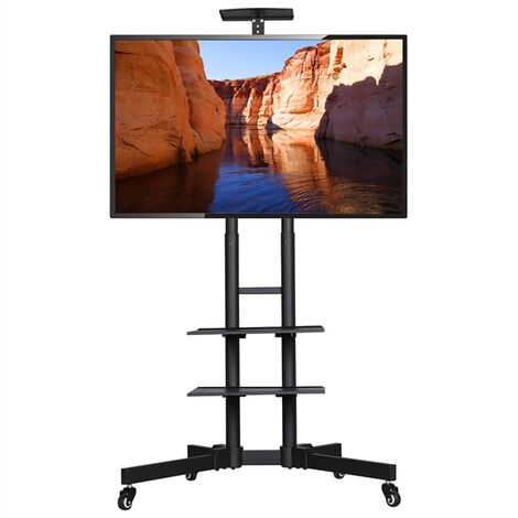 Mobile TV Stand on Wheels with 3-Tier Tray, Portable TV Cart with VESA Bracket Mount for 32 to 65 inch Plasma/LCD/LED Home Display TV Trolley