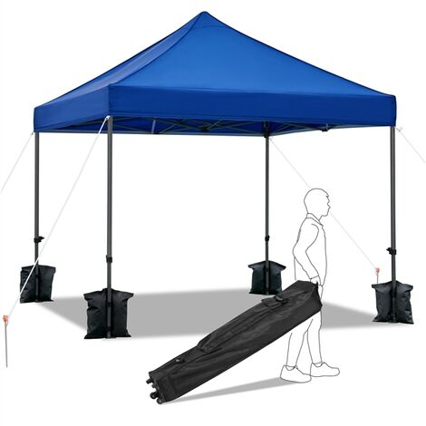 3M x 3M Heavy Duty Commercial Pop-up Canopy Easy Pop Up Gazebo Party Tent Wedding Marquee Garden Outdoor BBQ Party Tent,with Wheeled Carry Bag and Sand Bags