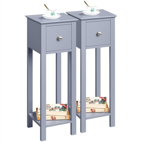 Nightstand Set of 2 Bedside Tables with Drawer Slim Tall Telephone End Table Narrow Hallway Side Table, Wooden