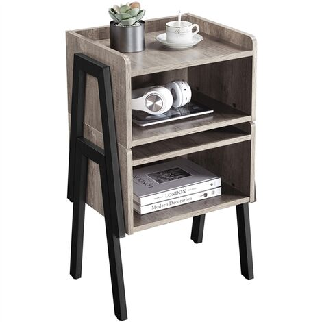 Set of 2 Bedside Table Industrial Nightstand Stackable End Table with Open Front Storage Compartment Retro Rustic Chic Wood Look Accent Furniture with Metal Legs