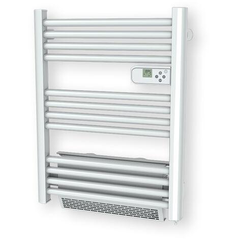 Cayenne radiateur sèche-serviette 500W + soufflerie 1000W (1500W) mini tubes ronds blanc LCD
