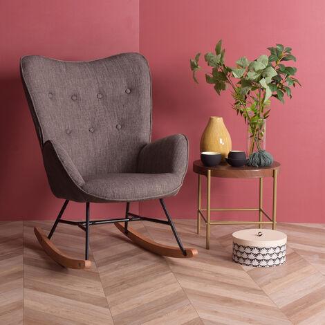 0882 fauteuil à bascule scandinave en gris - 68x87x98cm