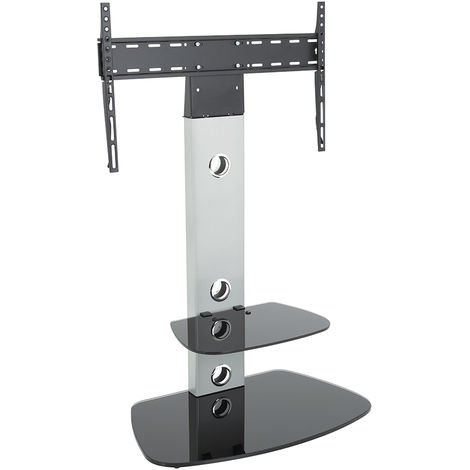"""King Cantilever TV Stand with Brackets, Silver, Rounded Base, TVs up to 60"""""""
