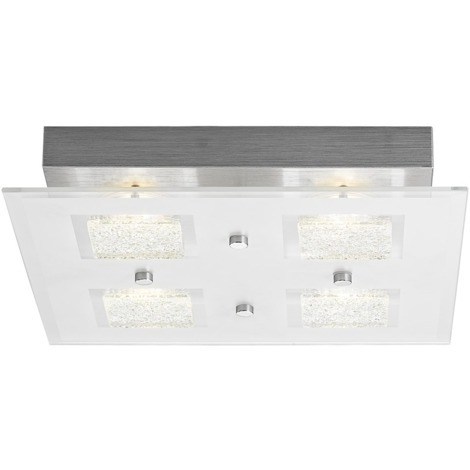 Modern Chrome Square LED Bathroom Light with Clear/Frosted Glass Plate by Happy Homewares