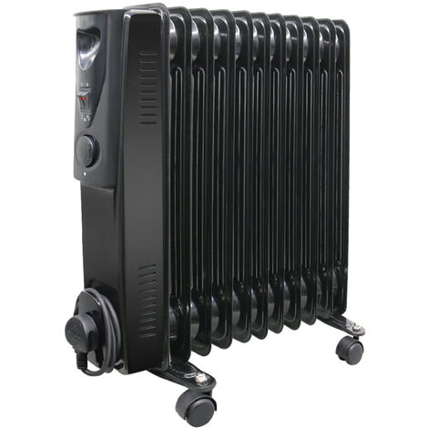 11 Fin Oil Filled Radiator 240V 2500W Electric Portable Heater 3 Heat Thermostat