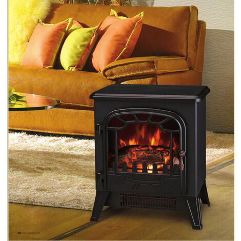 Lincsfire New 1850W Portable Electric Stove Fire Place Fireplace Heater Freestanding | Log Burning Flame Effect | 2 Heat Settings