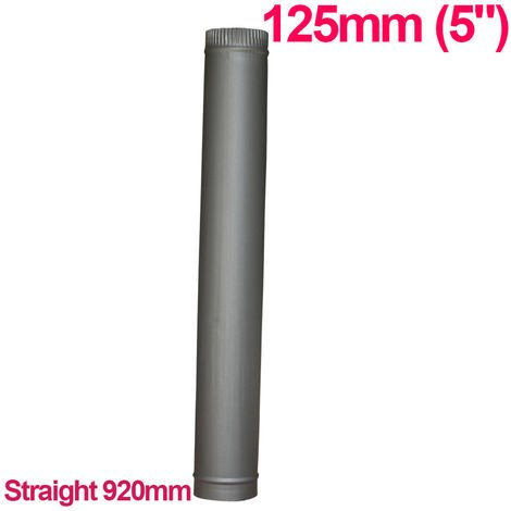 """Lincsfire 5"""" 920mm Straight Length of Flue Pipe Chimney for Wood Log Burning Multifuel Stove"""