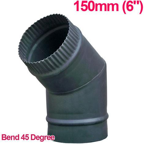 "Lincsfire 6"" 45 Degree Bend Steel Flue Pipe Chimney for Wood Log Burning Multifuel Stove"