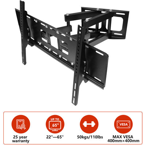 "TV Wall Bracket for 22""-65"", Swivel & Tilt TV Mount Bracket for TV LCD LED Plasma Flat Curved Screens up to 50kg (Double Arm Cantilever)"