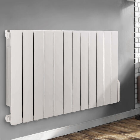 Wall Mounted Electric Radiator Thermostatic Oil Filled Heater Digital Radiator 24/7 Timer, 5 Heating Modes, LCD Display 577x1017mm 2000W