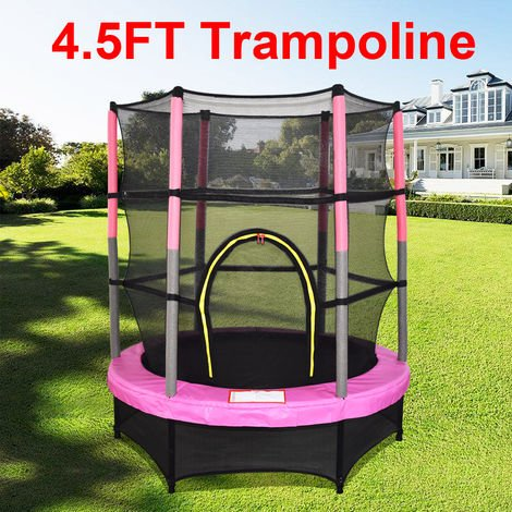 "Greenbay 4.5FT 55"" Outdoor Kids Trampoline Set with Enclosure Safety Net and Skirt Pink"