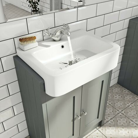 Orchard Dulwich stone grey floorstanding vanity unit with semi recessed basin 600mm
