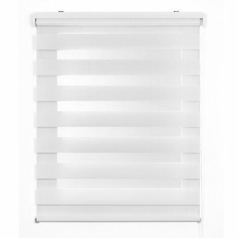 Estor Noche y Día, estor enrollable con doble tejido, Blanco, 100 x 250 cm