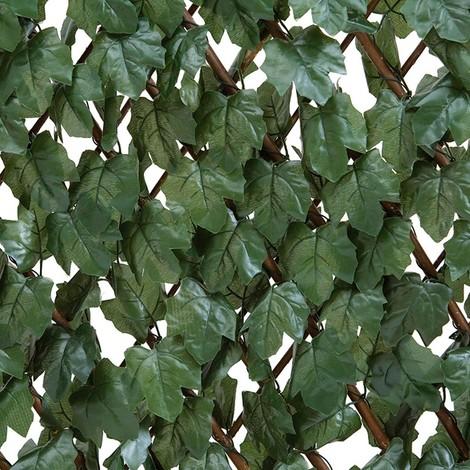 Seto celosía extensible verde con hojas