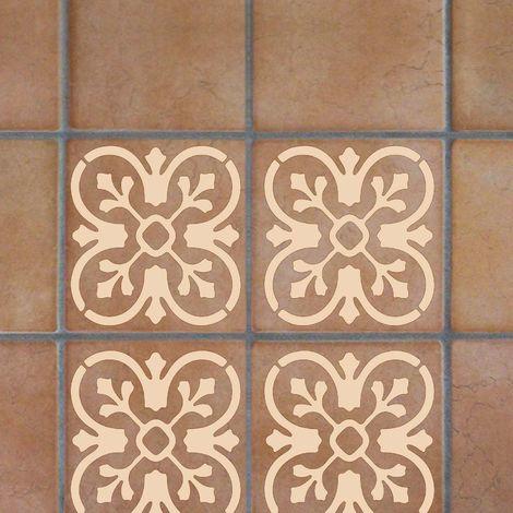 Stencil Per Pavimenti e Rivestimenti Effetto Cementina Quadrifoglio Bicolore