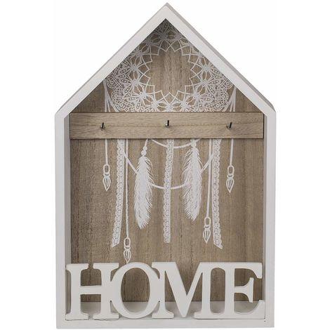 Porta Chiavi Armadietto Appendichiavi in Legno Per Casa Home Bianco 30x20 Cm