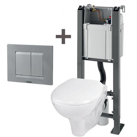 WC suspendu autoportant + plaque chromée mat + cuvette NF + abattant NF - Wirquin Pro - 55720628
