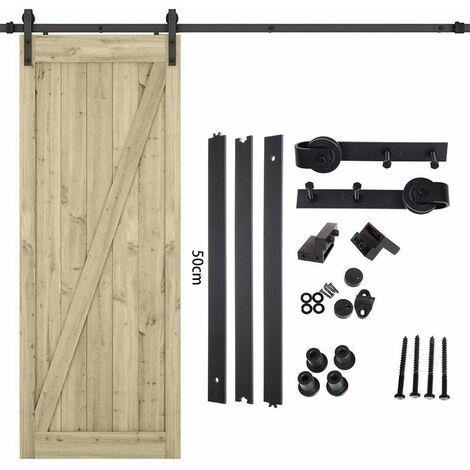iDEGU 150cm Kit de Rail Roulettes pour Porte Coulissante Hardware pour une Porte Suspendue en Bois Sliding Barn Door Hardware Flat Shaped