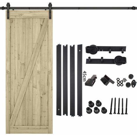 iDEGU 180cm Kit de Rail Roulettes pour Porte Coulissante Hardware pour une Porte Suspendue en Bois Sliding Barn Door Hardware Flat Shaped