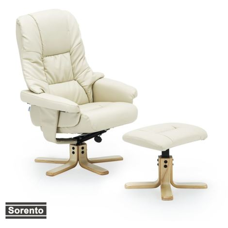 SORENTO REAL LEATHER SWIVEL RECLINER CHAIR w FOOT STOOL - diffrent colors available