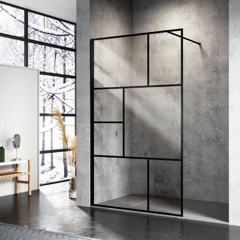 SONNI 8mm Walk in Dusche Duschwände Duschwand Duschabtrennung Schwarz NANO Echtglas 100x200cm