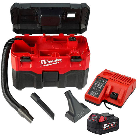 Milwaukee M18VC2 18V Wet/Dry Vacuum Cleaner with 1 x 5.0Ah Battery & Charger:18V