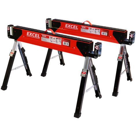Excel Heavy Duty Steel Sawhorse Adjustable Legs Twin Pack