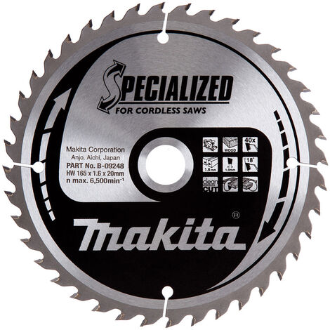 Makita B-09248 165mm x 20mm x 40T Wood Specialized Circular Saw Blade