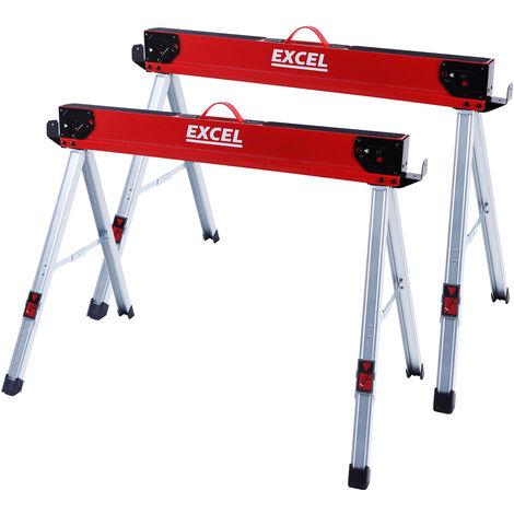 Excel Steel Sawhorse Heavy Duty Twin Pack 1178kg Capacity