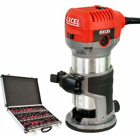 """Excel 710W Electric Wood Hand Trimmer/Router 240V with 1/4"""" 35 Piece Cutter Set:240V"""