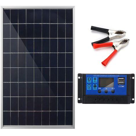 Panneau solaire portable 30W 12V + controleur 40A pour charger batterie camping voyager