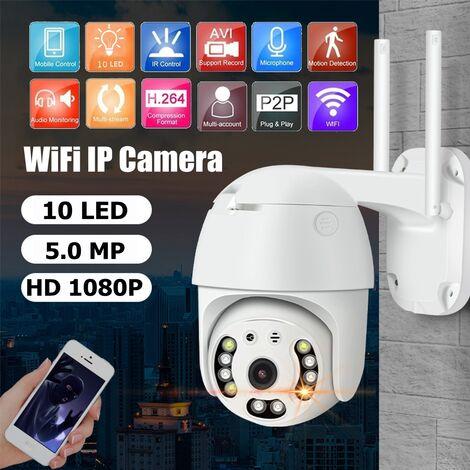 Caméra IP WIFI 1080P 10 LED CCTV exterieur sans fil HD Caméra IR de Securite à domicile (prise UE)