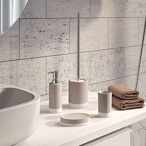 G-New Mizar set 4 pezzi accessori da bagno in ceramica colore tortora