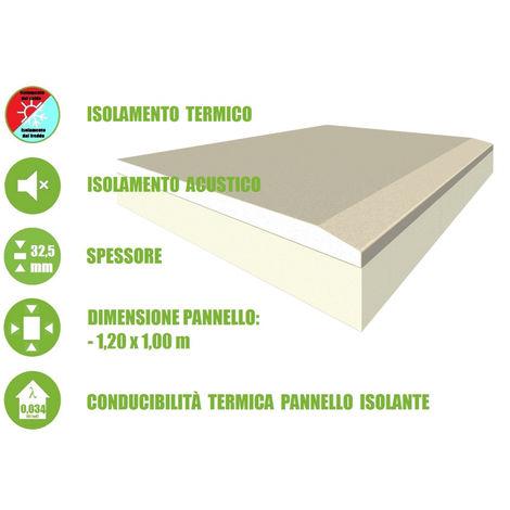 Pannello Accoppiato in Cartongesso e Polistirene Estruso per Isolamento Termico/Acustico - 120x100xH3,25 cm