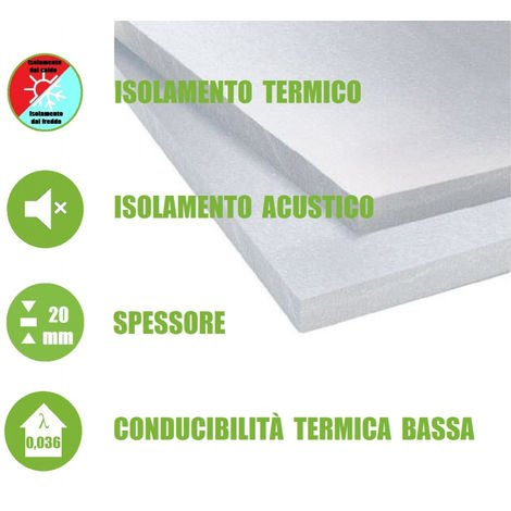"""Pannello in EPS 100 """"Polistirene Espanso Sinterizzato"""" per Isolamento Termico/Acustico -100x50x2 cm"""
