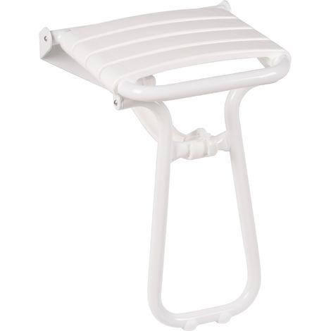 Siege de douche escamotable aluminium époxy blanc - Godonnier