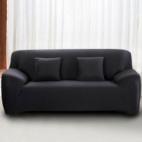 Housse de Canapé 4 Places avec Accoudoir Extensible - Revêtement de Canapé Pour salon chambre - Noir - MONDEER