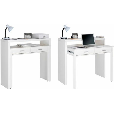 Bureau extensible, table pour ordinateur, 2 tiroirs, blanc brillant.