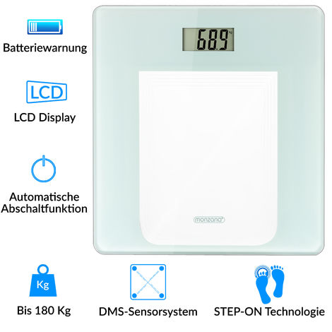 Monzana® High Precision Digital Body Weighing Bathroom Scales Weight Scale with Step-On Technology LCD Display 28st/180kg/400lb