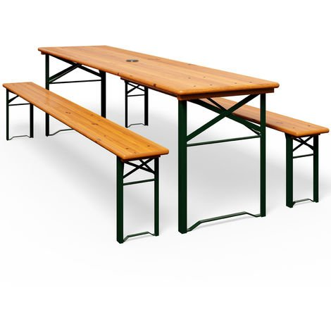 Wooden Folding Trestle Table and Bench Set 180cm Garden Dining Furniture Set with Parasol Hole (3 Pieces)