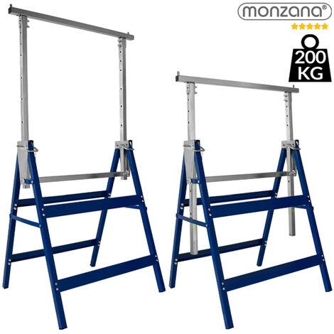2x Deuba Telescopic Trestle Builders Heavy Duty Carpenter Steel Work Bench DIY Adjustable Saw Horse Folding Tool 200kg