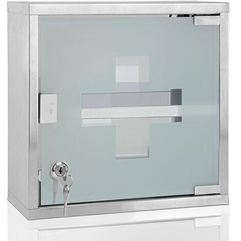 Deuba® Medicine Cabinet Wall Mounted First Aid Lockable Glass Steel Cupboard Box