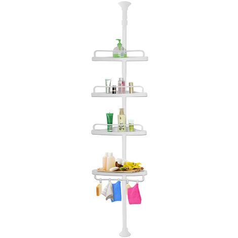Deuba Telescopic Shower Rack Shelf 155-290 cm Adjustable White Corner Bathroom Shelves Organiser White 4 Tier Bath