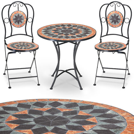 Mosaic patio set TERRACOTTA - Garden terrace furniture set - 1 Table & 2 foldable Chairs